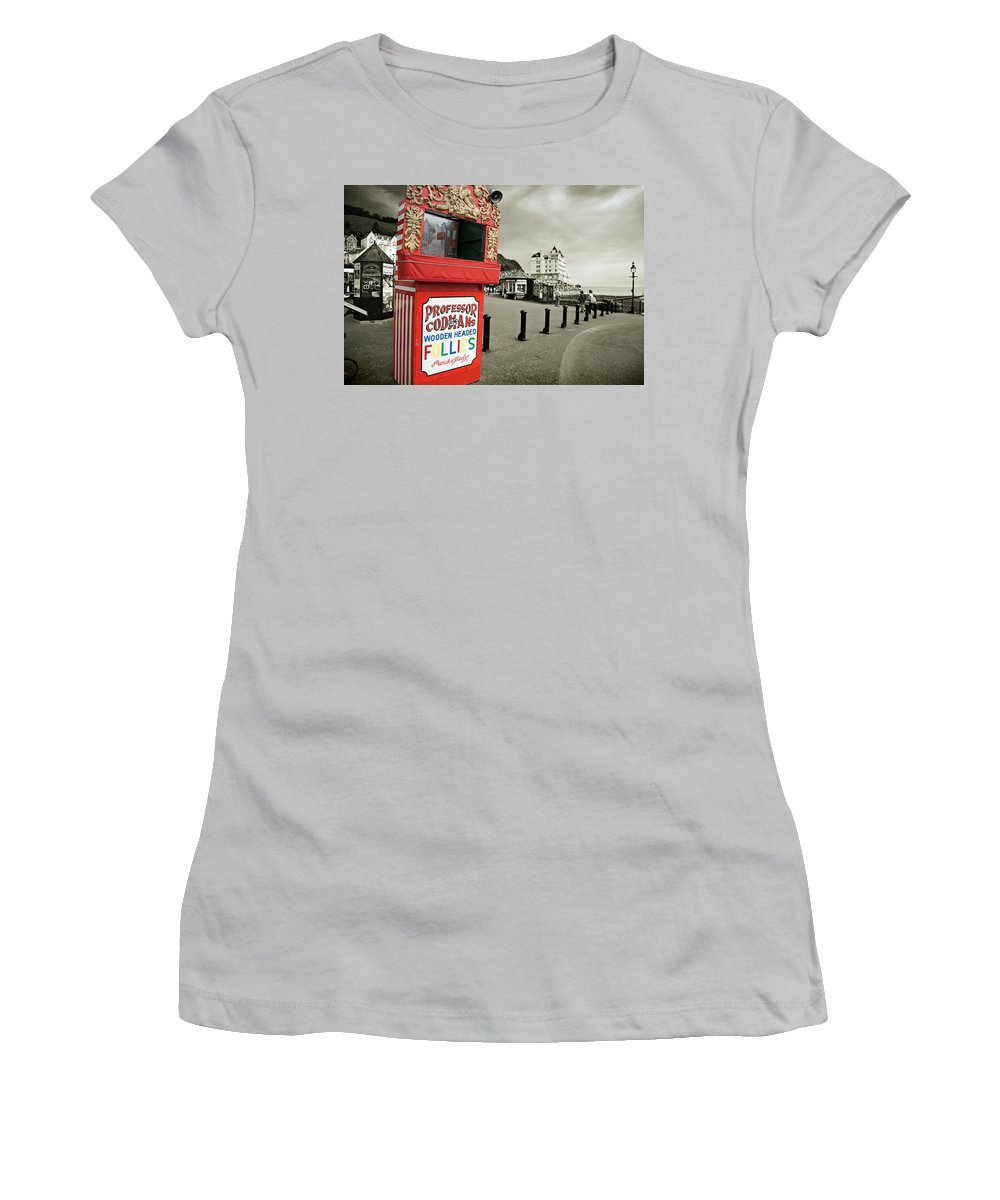 Punch And Judy Women's T-Shirt (Athletic Fit) featuring the photograph Punch And Judy Theatre On Llandudno Promenade by Mal Bray