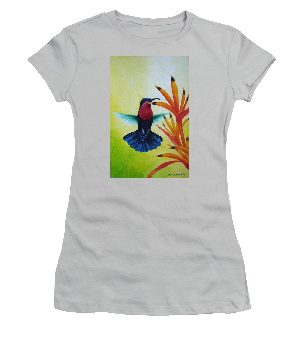 Purple-throated Carib Women's T-Shirt (Athletic Fit) featuring the painting Purple-throated Carib And Bird Of Paradise by Christopher Cox