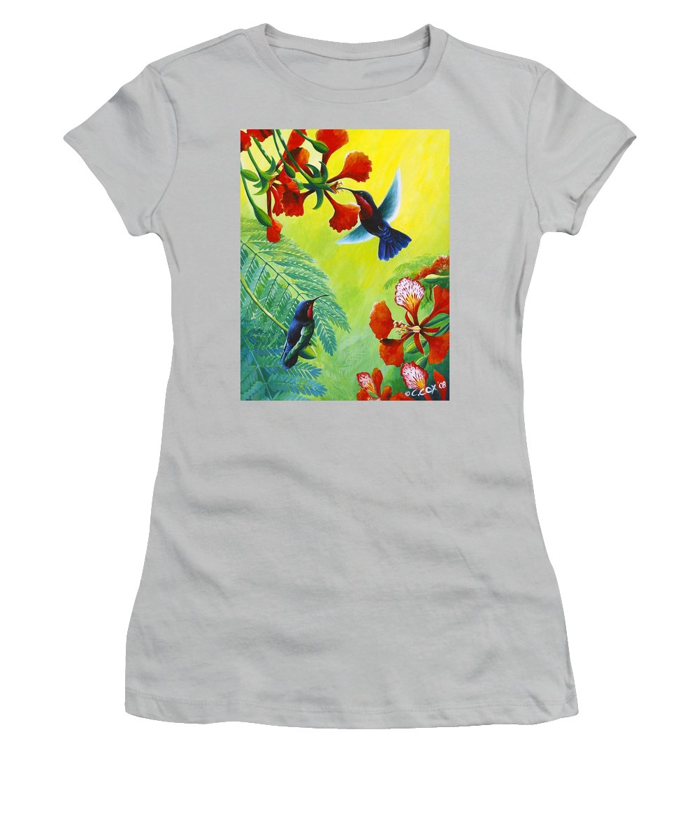Chris Cox Women's T-Shirt (Athletic Fit) featuring the painting Purple-throated Caribs And Flamboyant by Christopher Cox
