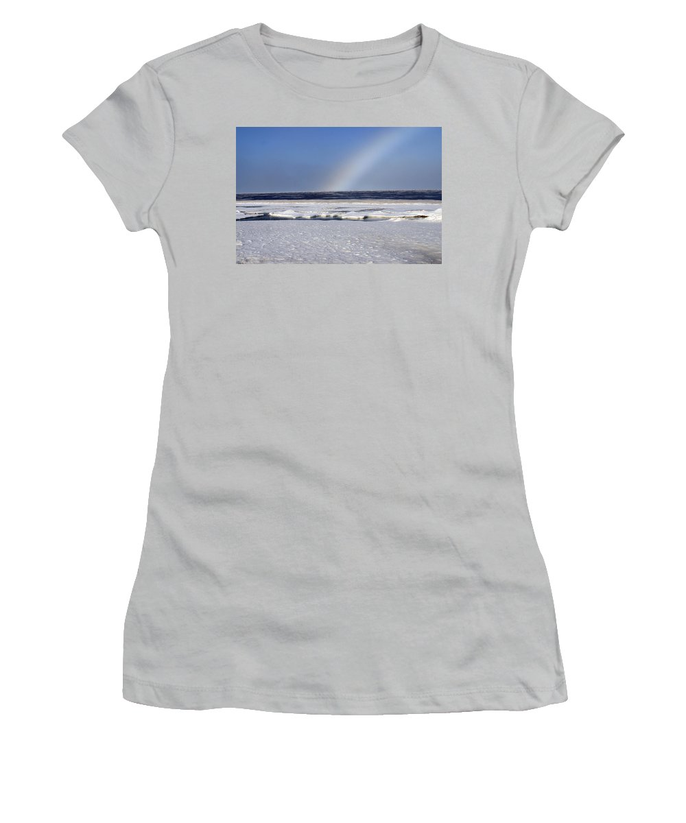 Rainbow Women's T-Shirt (Athletic Fit) featuring the photograph Rainbow Over The Arctic by Anthony Jones