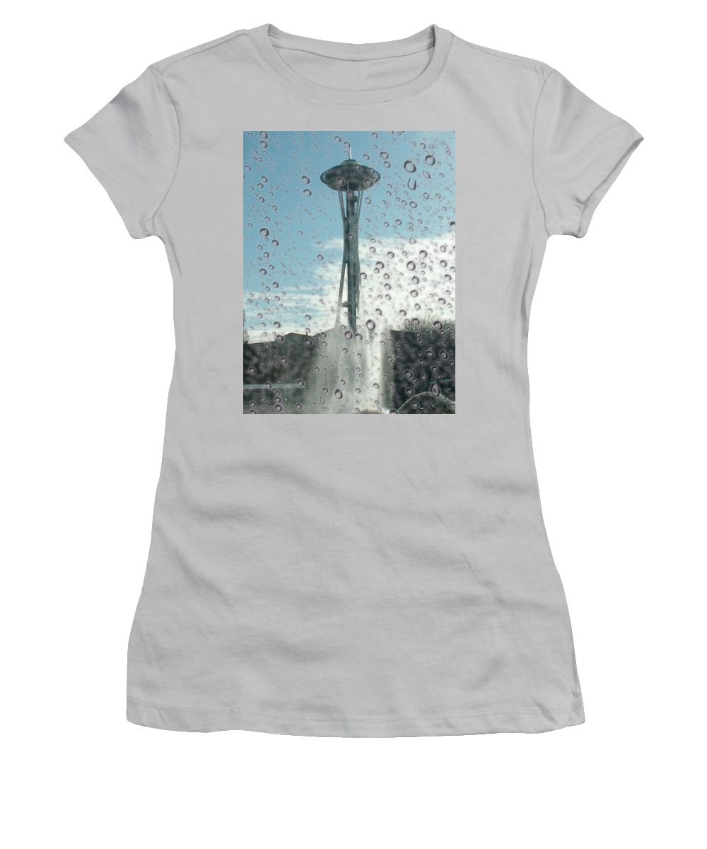 Seattle Women's T-Shirt (Athletic Fit) featuring the photograph Rainy Window Needle by Tim Allen