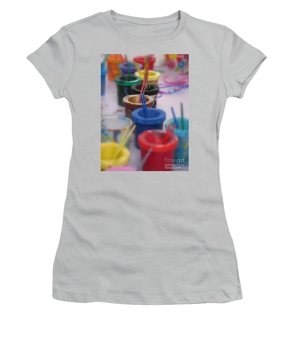 Painting Women's T-Shirt (Athletic Fit) featuring the photograph Ready  Set  Paint by Shelley Jones