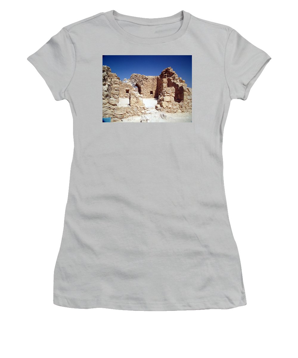 Massada Women's T-Shirt (Athletic Fit) featuring the photograph Remains Of The Massada Synagogue by Avi Horovitz