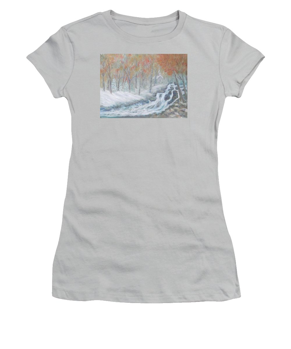 Snow; Landscape; Church Women's T-Shirt (Athletic Fit) featuring the painting Reverence by Ben Kiger