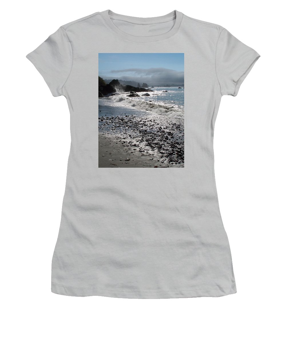 Ocean Women's T-Shirt (Athletic Fit) featuring the photograph Rocky Shores by Gale Cochran-Smith