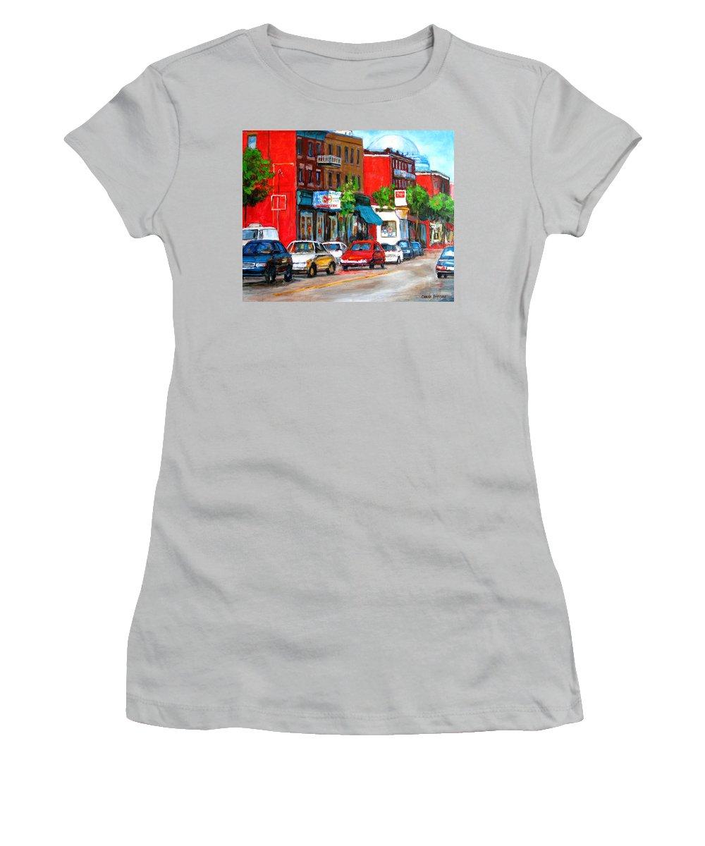 St.viateur Bagel Women's T-Shirt (Athletic Fit) featuring the painting Saint Viateur Street by Carole Spandau