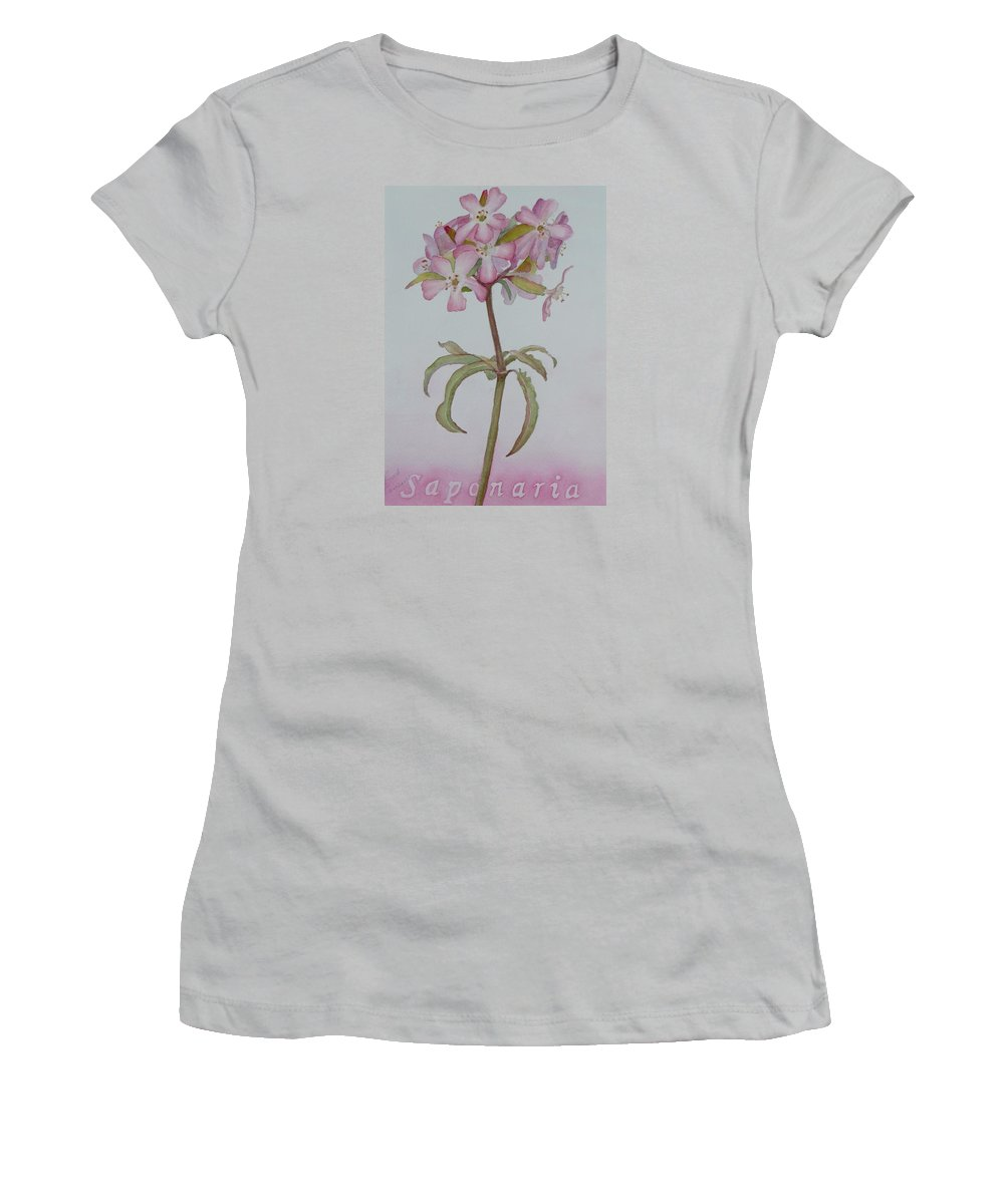 Flower Women's T-Shirt (Athletic Fit) featuring the painting Saponaria by Ruth Kamenev