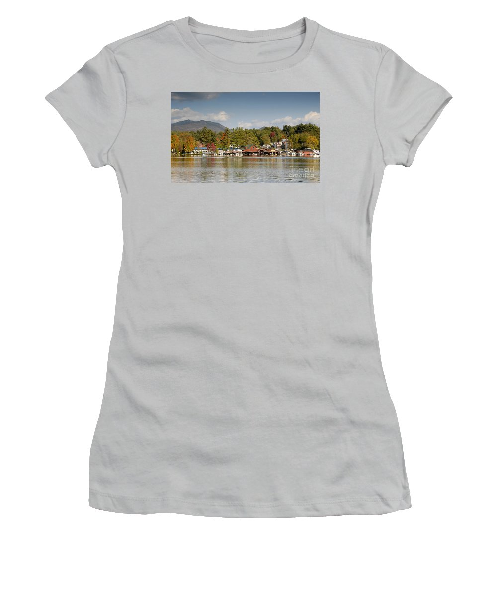 Saranac Lake New York Women's T-Shirt (Athletic Fit) featuring the photograph Saranac Lake by David Lee Thompson