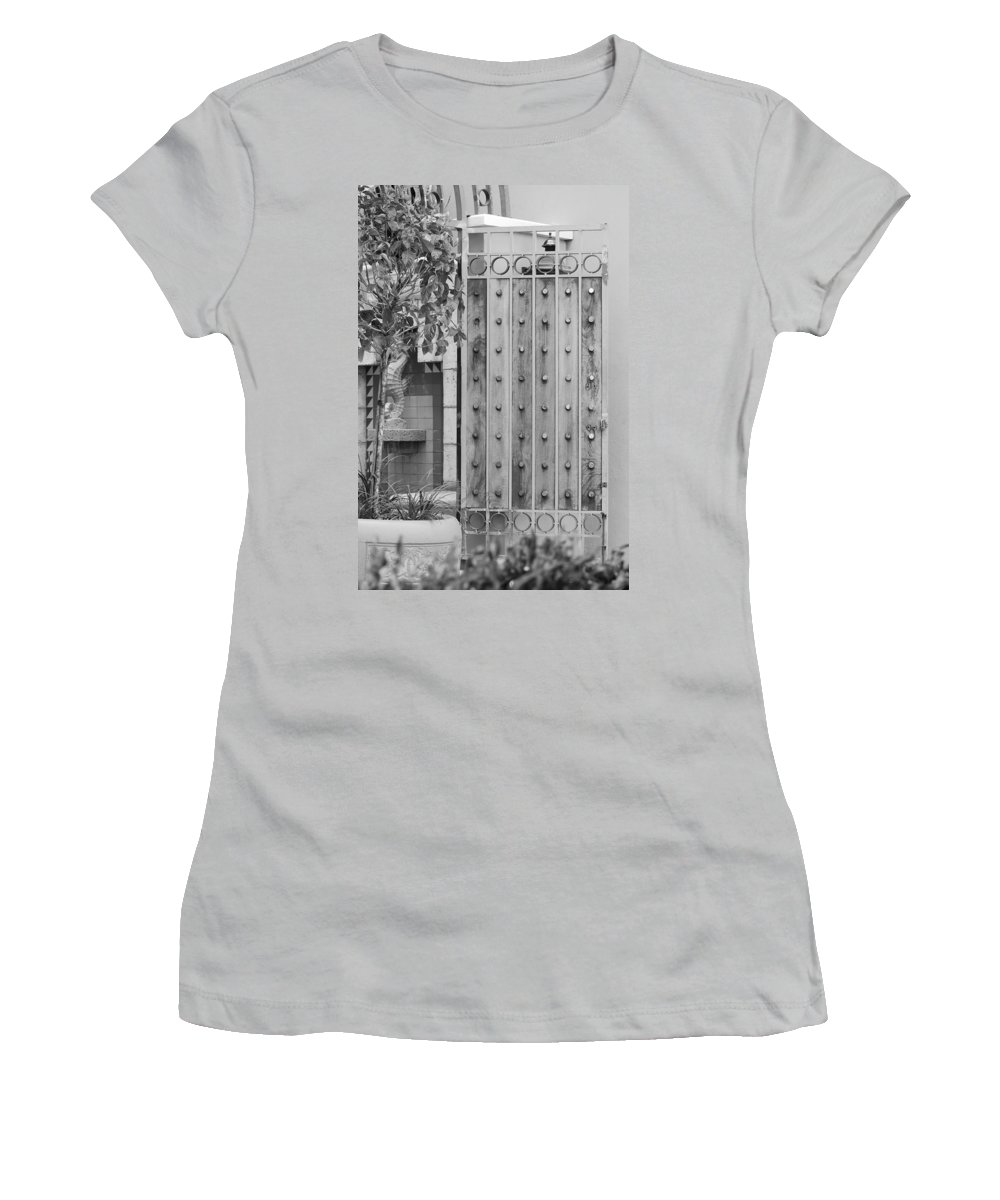 Black And White Women's T-Shirt (Athletic Fit) featuring the photograph Sea Horse Gate by Rob Hans