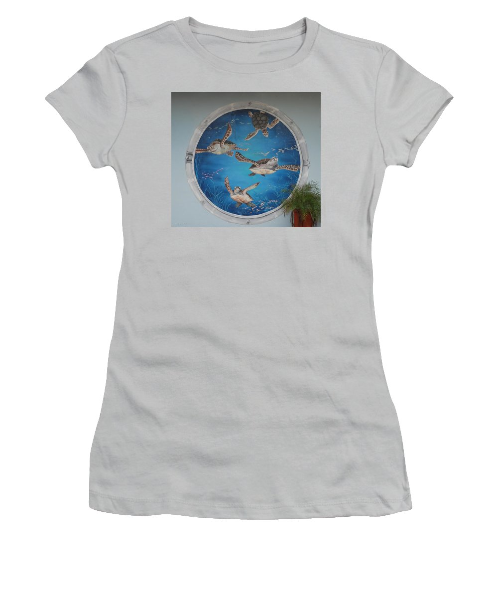 Sea Turtles Women's T-Shirt (Athletic Fit) featuring the photograph Sea Turtles by Rob Hans