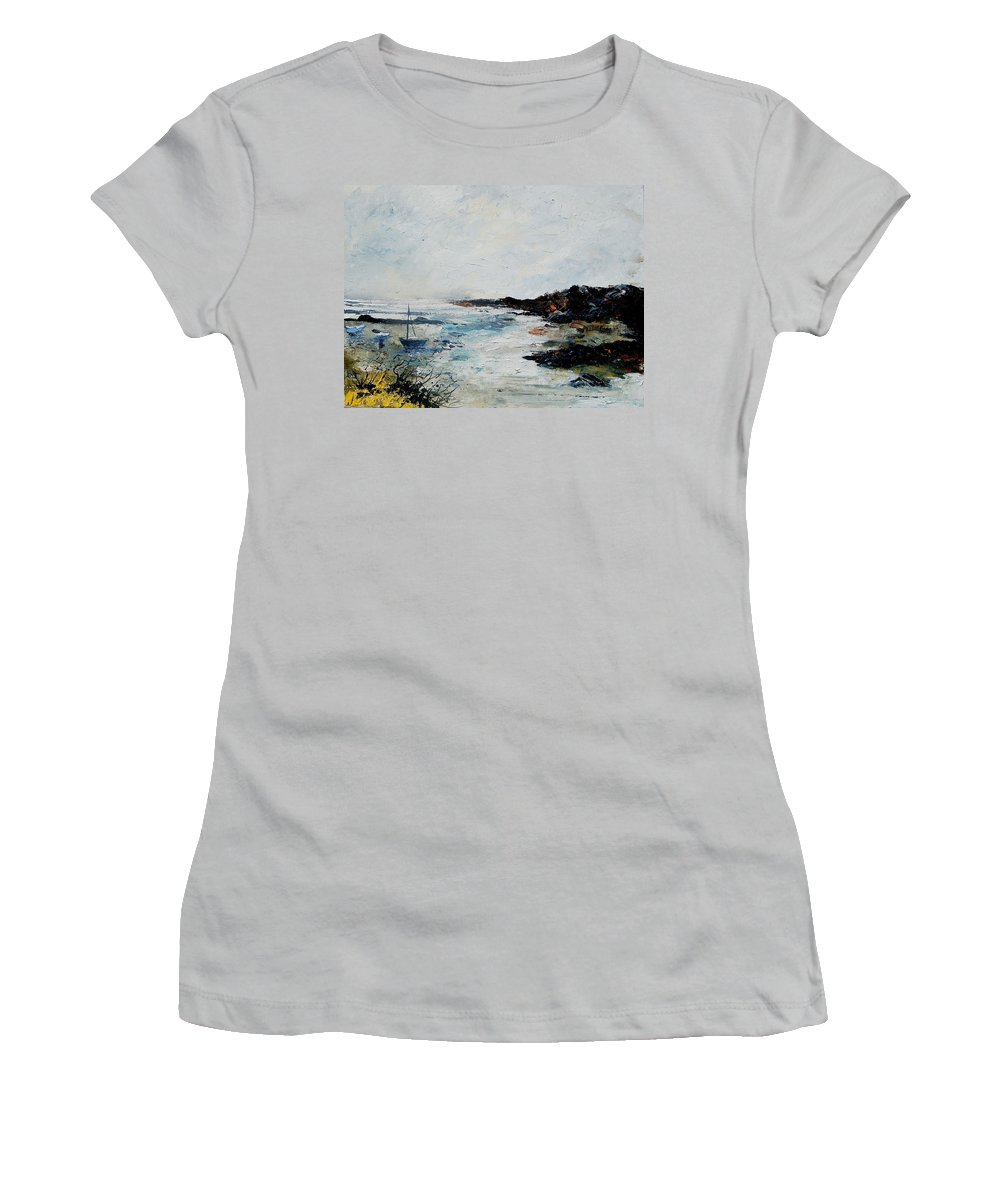 Sea Women's T-Shirt (Athletic Fit) featuring the painting Seascape 68 by Pol Ledent