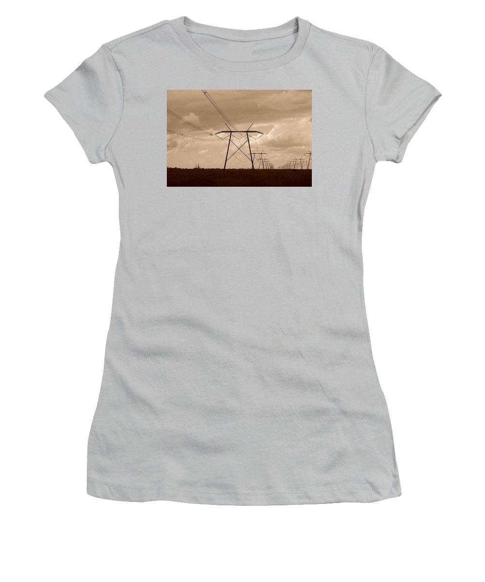 Sepia Women's T-Shirt (Athletic Fit) featuring the photograph Sepia Power by Rob Hans