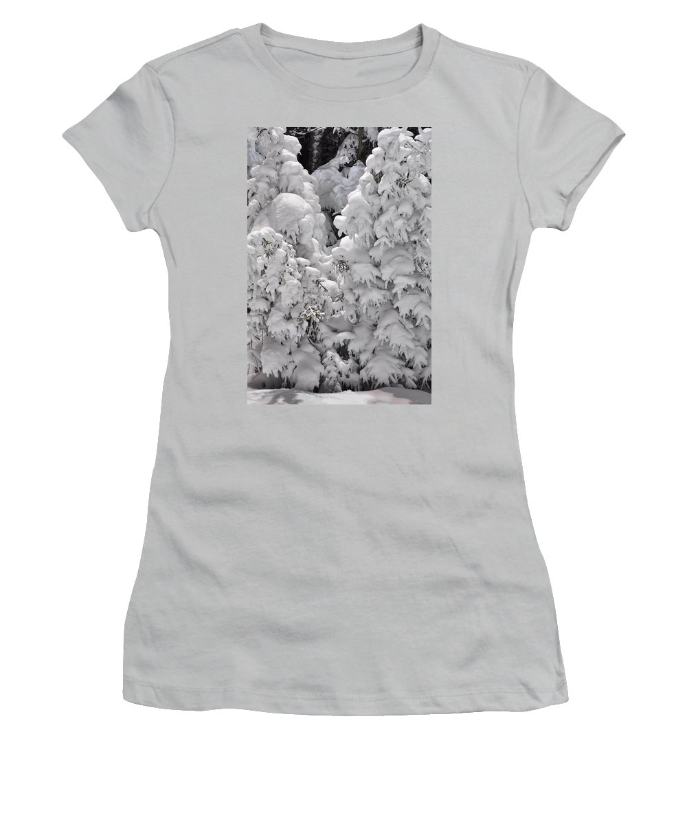 Snow Women's T-Shirt (Athletic Fit) featuring the photograph Snow Coat by Alex Grichenko