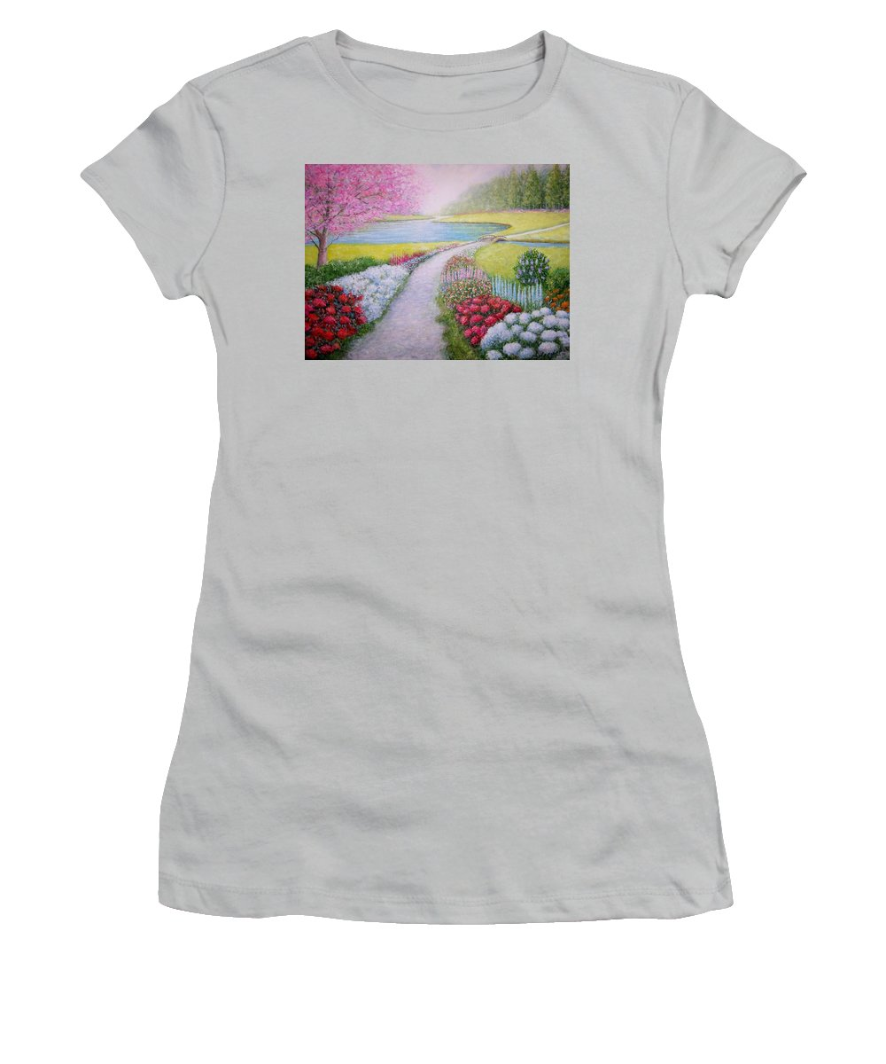 Landscape Women's T-Shirt (Athletic Fit) featuring the painting Spring by William H RaVell III