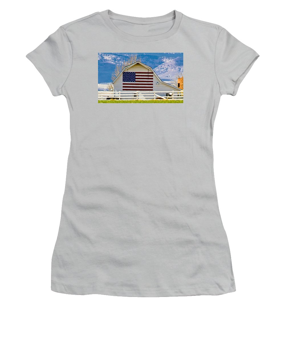 Barn Women's T-Shirt (Athletic Fit) featuring the photograph Stars Stripes And Barns by Marilyn Hunt