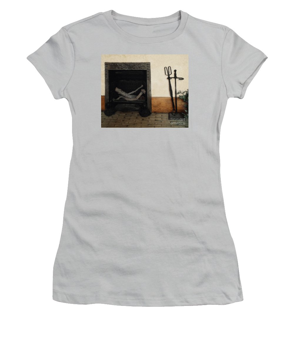 Fireplace Women's T-Shirt (Athletic Fit) featuring the painting Study In Iron, Wood And Stone by RC deWinter