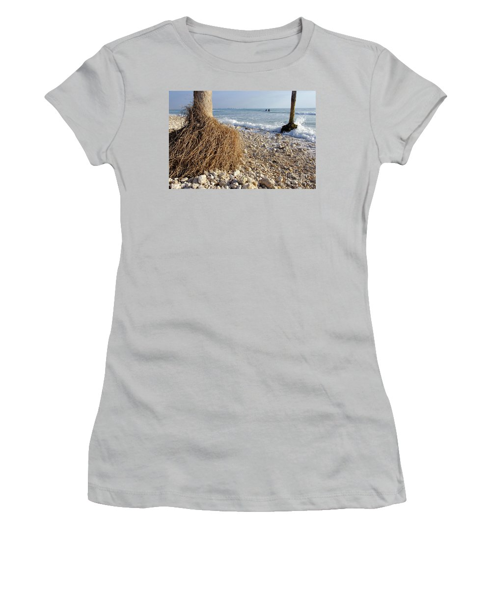 Surfing Women's T-Shirt (Athletic Fit) featuring the photograph Surfing With Palms by David Lee Thompson