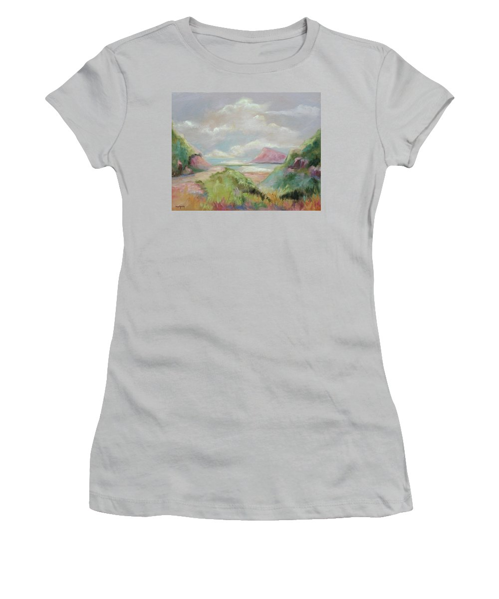 Seascape Women's T-Shirt (Athletic Fit) featuring the painting Taiwan Inlet by Ginger Concepcion