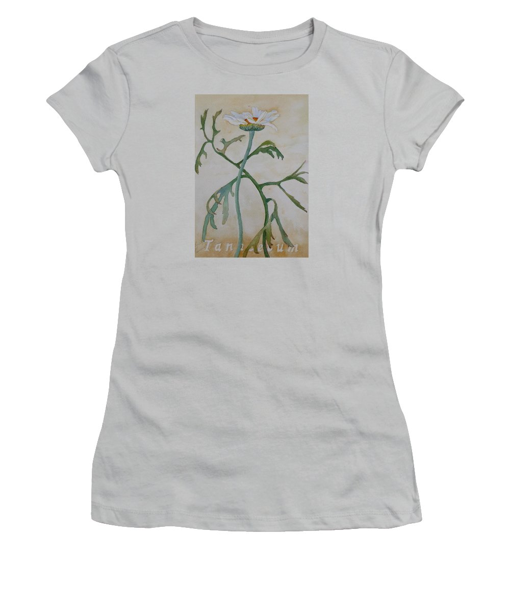 Flower Women's T-Shirt (Athletic Fit) featuring the painting Tanacetum by Ruth Kamenev