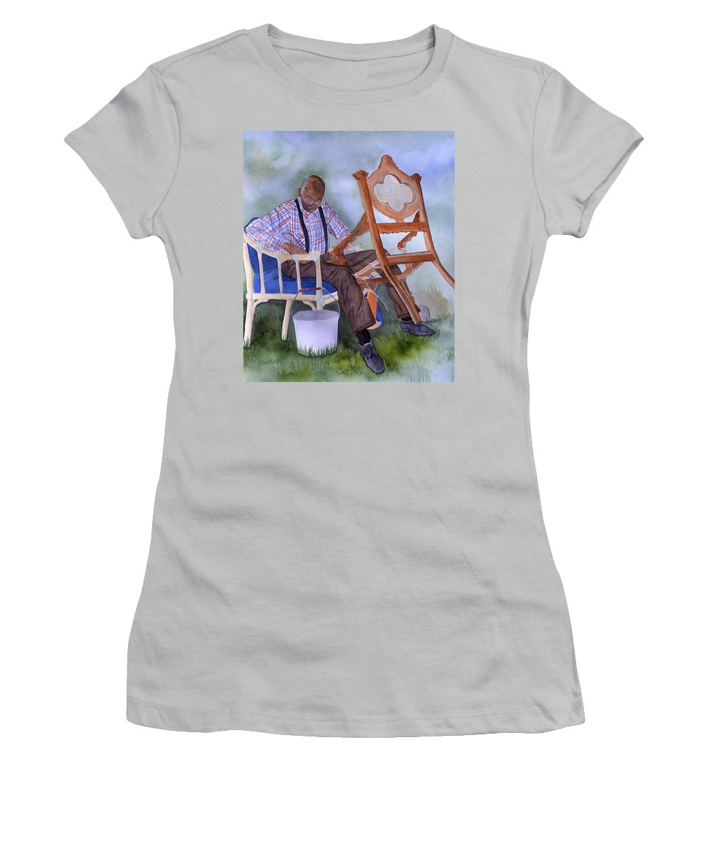Portrait Women's T-Shirt (Athletic Fit) featuring the painting The Art Of Caning by Jean Blackmer