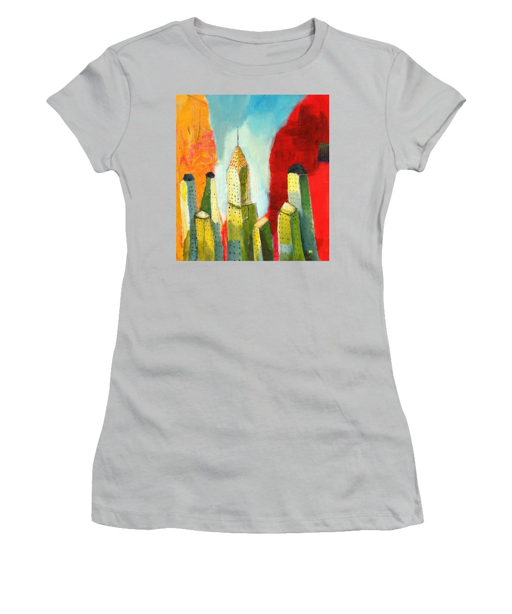Abstract Cityscape Women's T-Shirt (Athletic Fit) featuring the painting The Chrysler In Colors by Habib Ayat