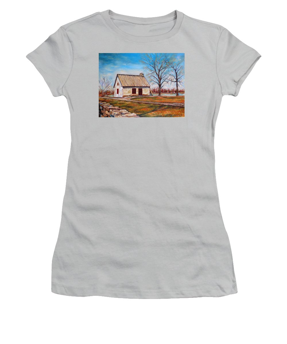 Ile Perrot Women's T-Shirt (Athletic Fit) featuring the painting The Lake House by Carole Spandau
