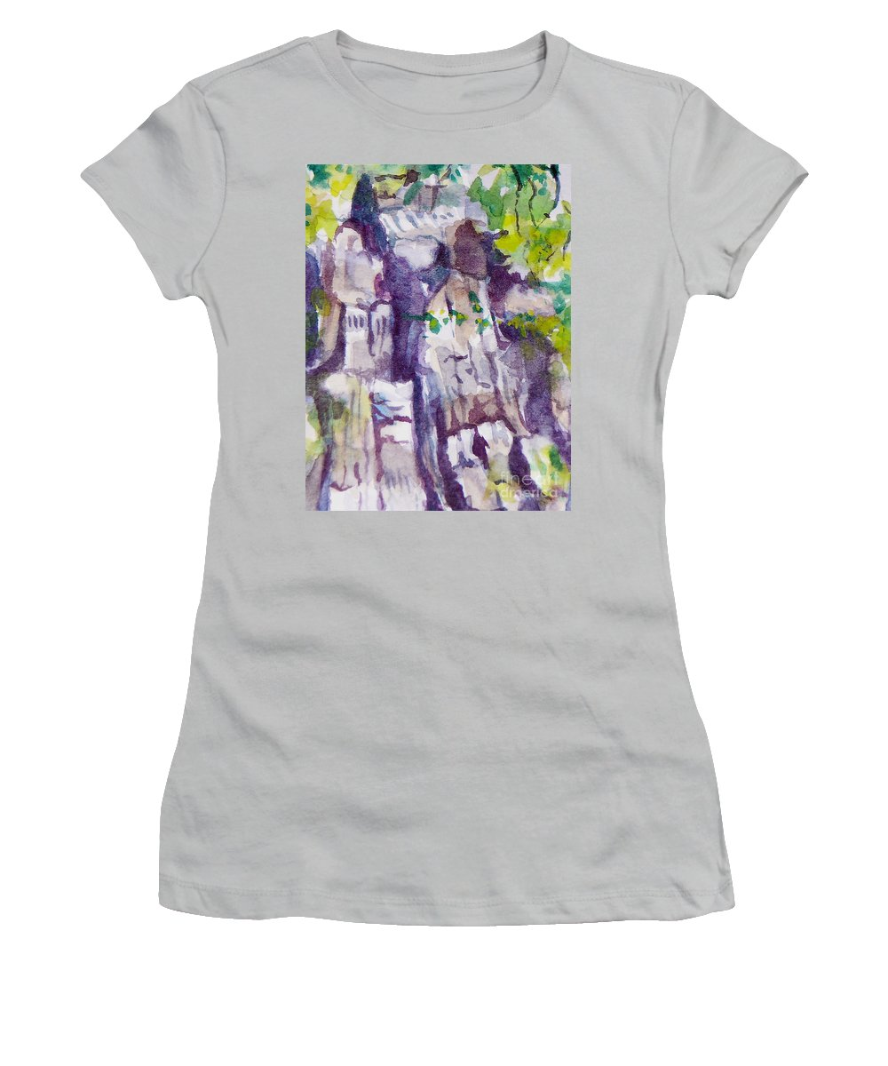 Purple Women's T-Shirt (Athletic Fit) featuring the painting The Little Climbing Wall by Jan Bennicoff