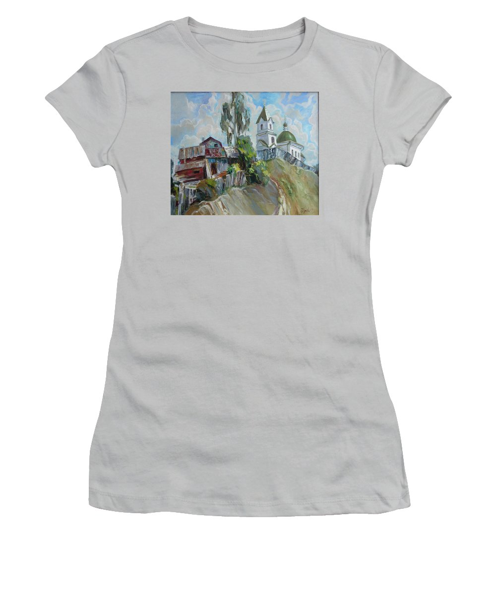Oil Women's T-Shirt (Athletic Fit) featuring the painting The Old And New by Sergey Ignatenko