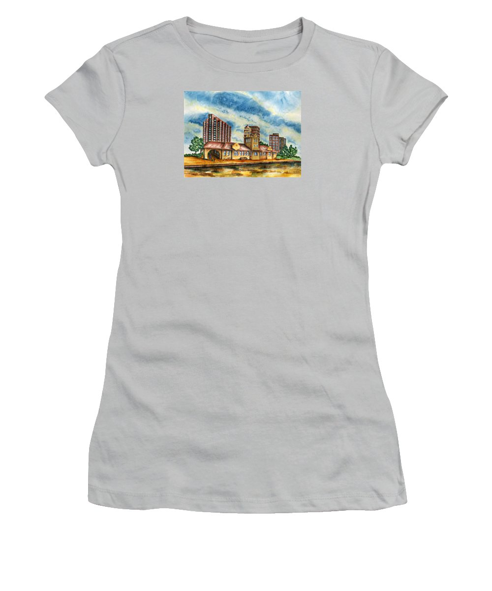 Cityscape Women's T-Shirt (Athletic Fit) featuring the painting The Old Train Station  by Ragon Steele