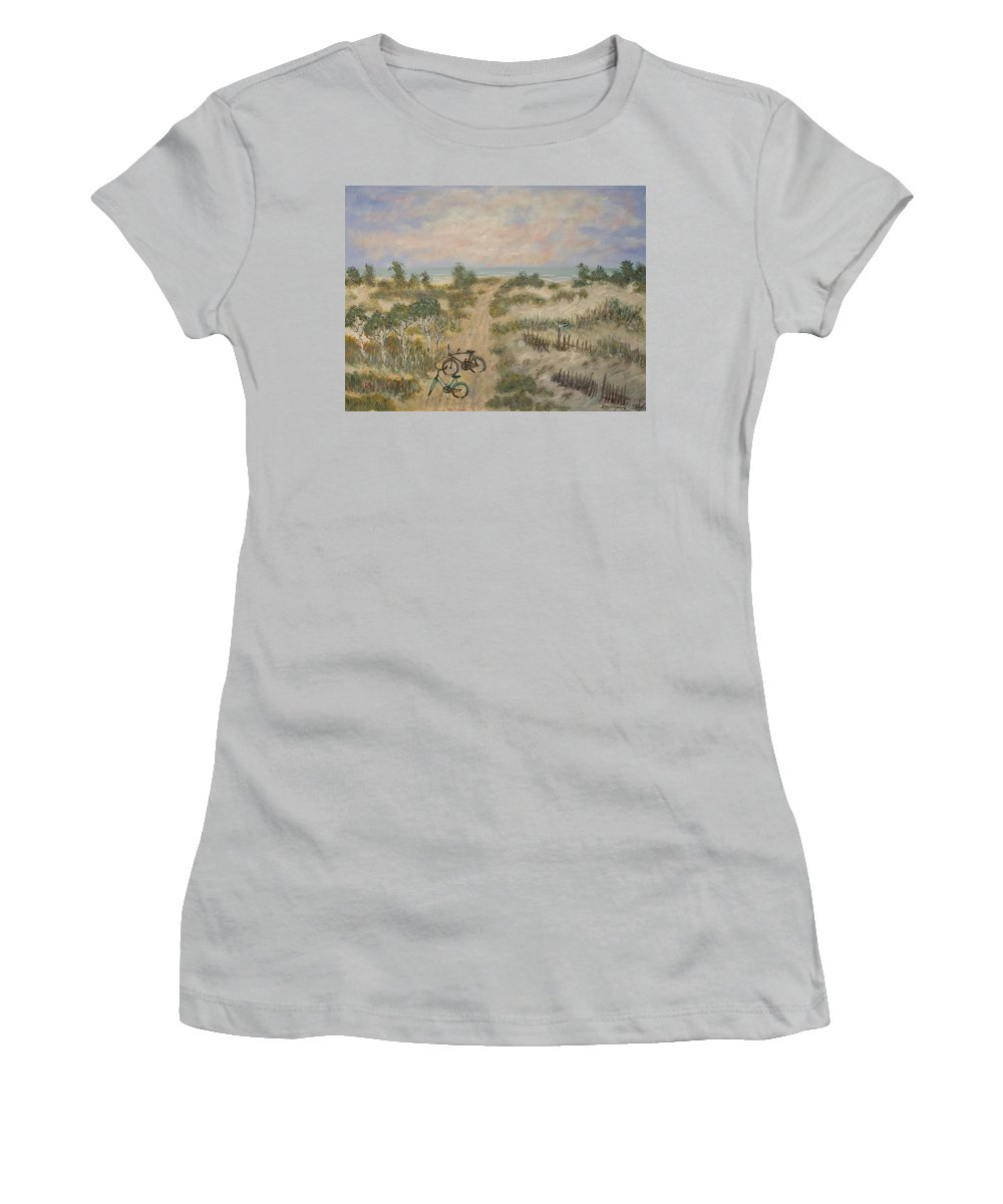 Beach Women's T-Shirt (Athletic Fit) featuring the painting The Path by Ben Kiger