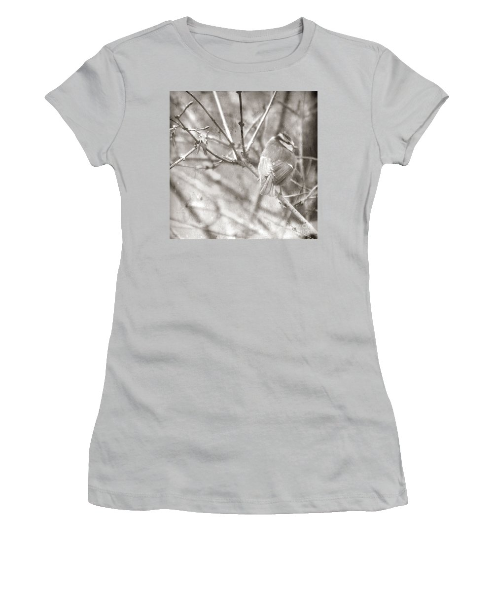 Blue Tit Women's T-Shirt (Athletic Fit) featuring the photograph The Winter Time by Angel Ciesniarska
