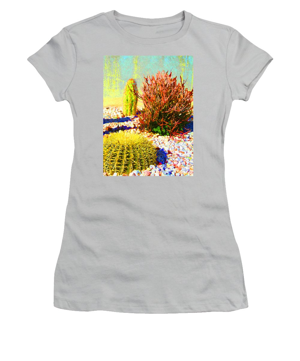Landscape Women's T-Shirt (Athletic Fit) featuring the painting Three Cacti by Amy Vangsgard