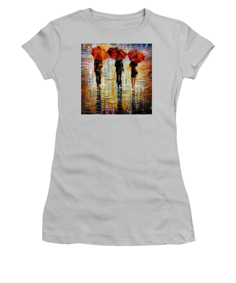 Cityscape Women's T-Shirt (Athletic Fit) featuring the painting Three Red Umbrella by Leonid Afremov