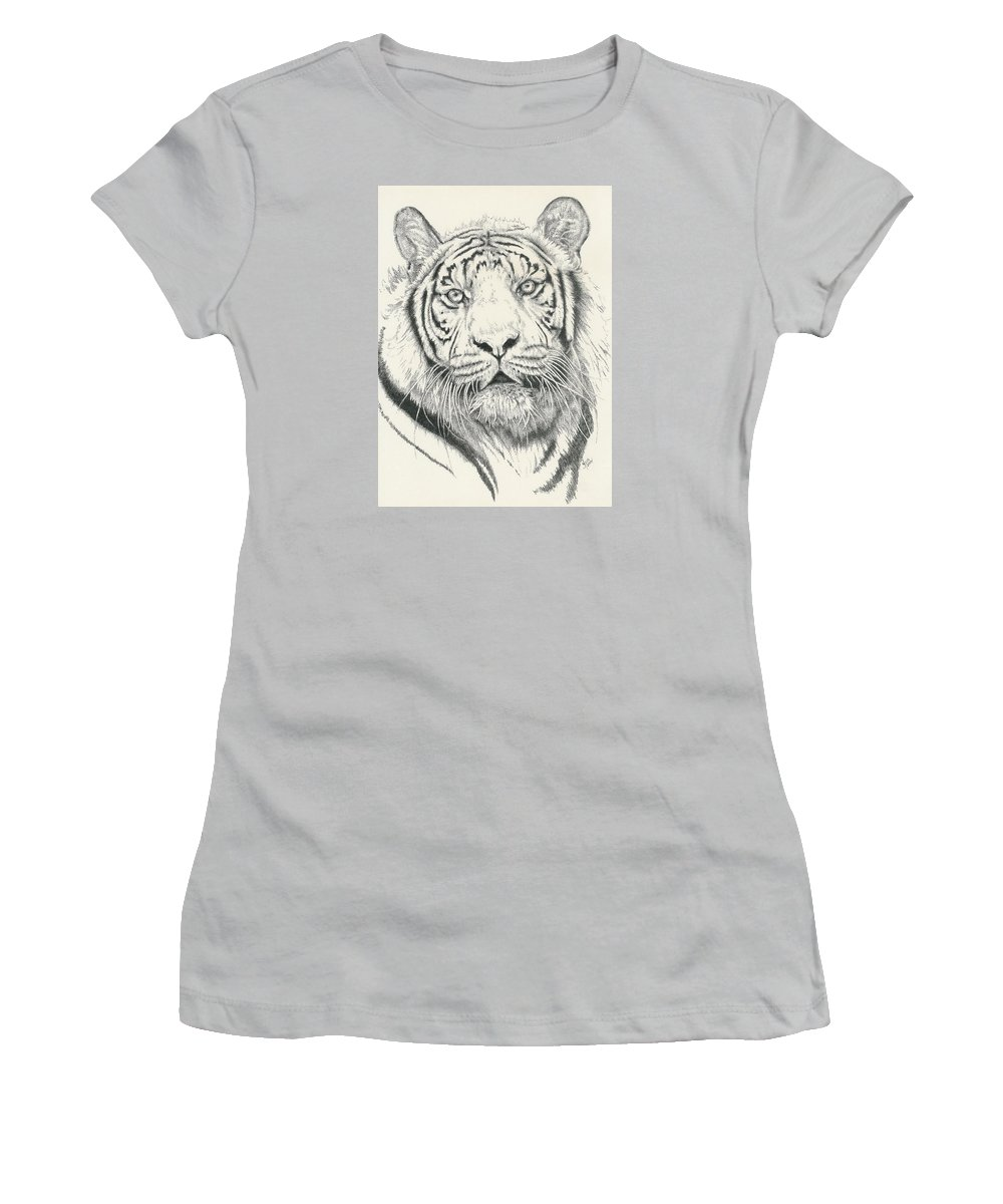 Tiger Women's T-Shirt (Athletic Fit) featuring the drawing Tigerlily by Barbara Keith