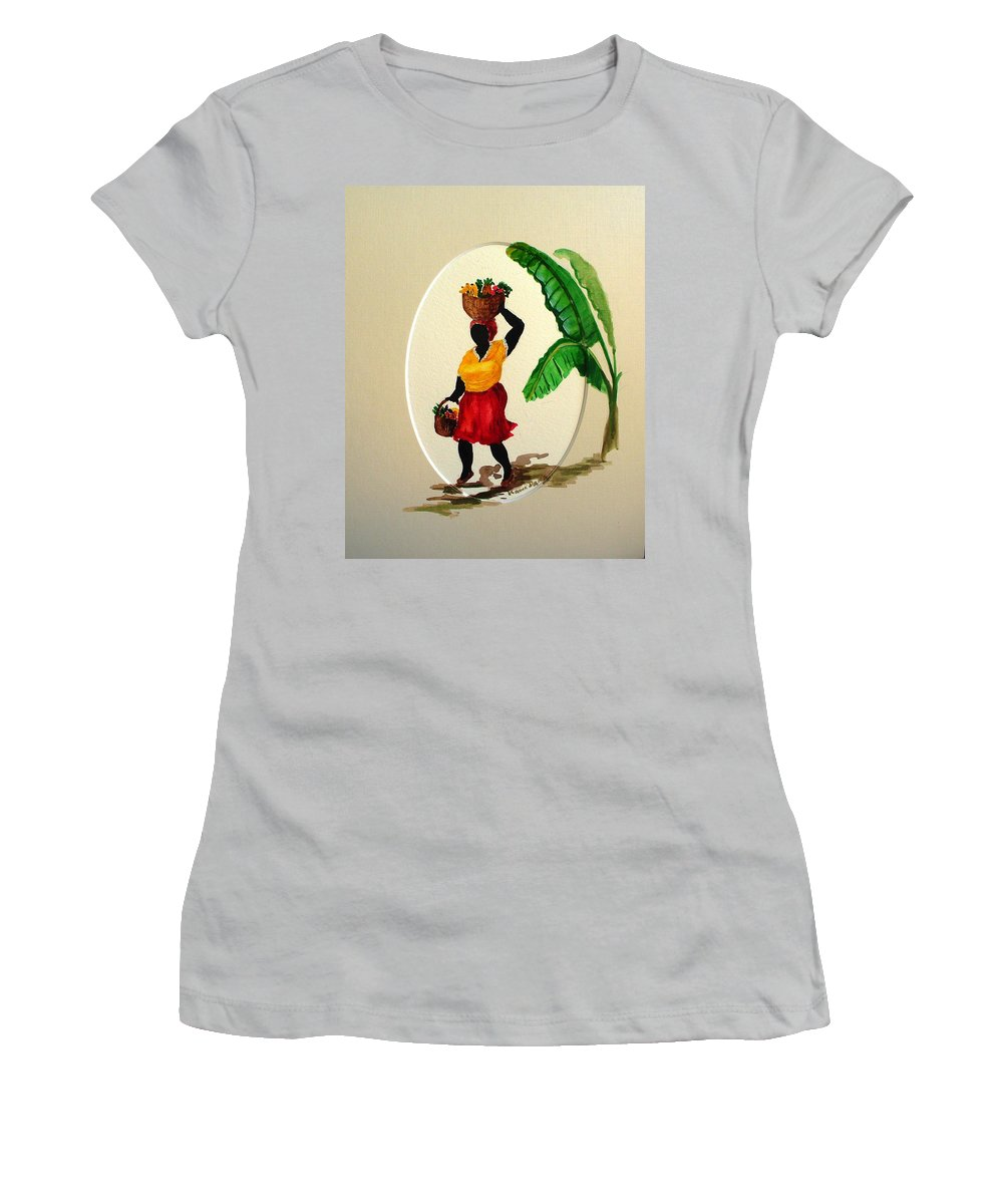 Caribbean Market Womanfruit & Veg Women's T-Shirt (Athletic Fit) featuring the painting To Market by Karin Dawn Kelshall- Best