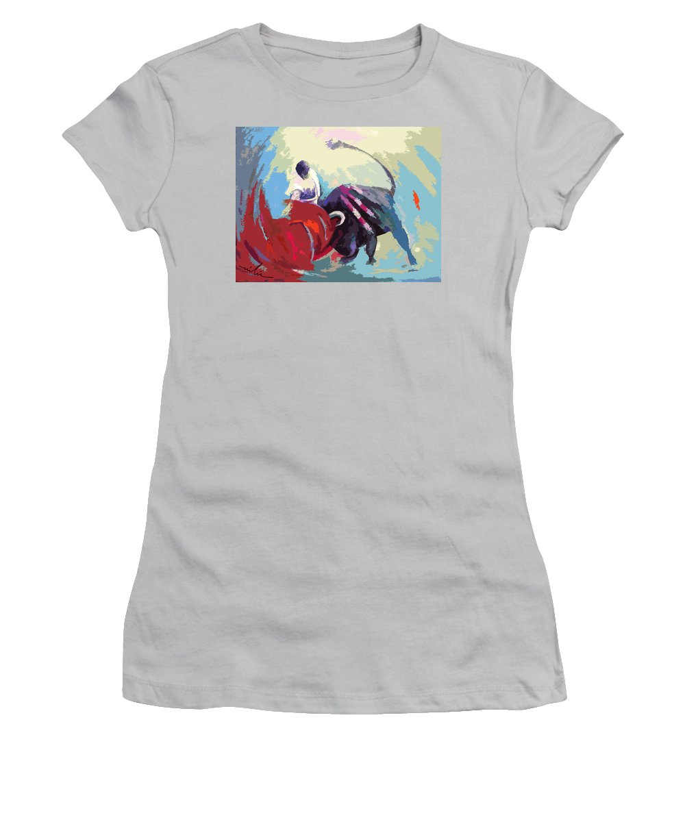 Animals Women's T-Shirt (Athletic Fit) featuring the painting Toroscape 33 by Miki De Goodaboom