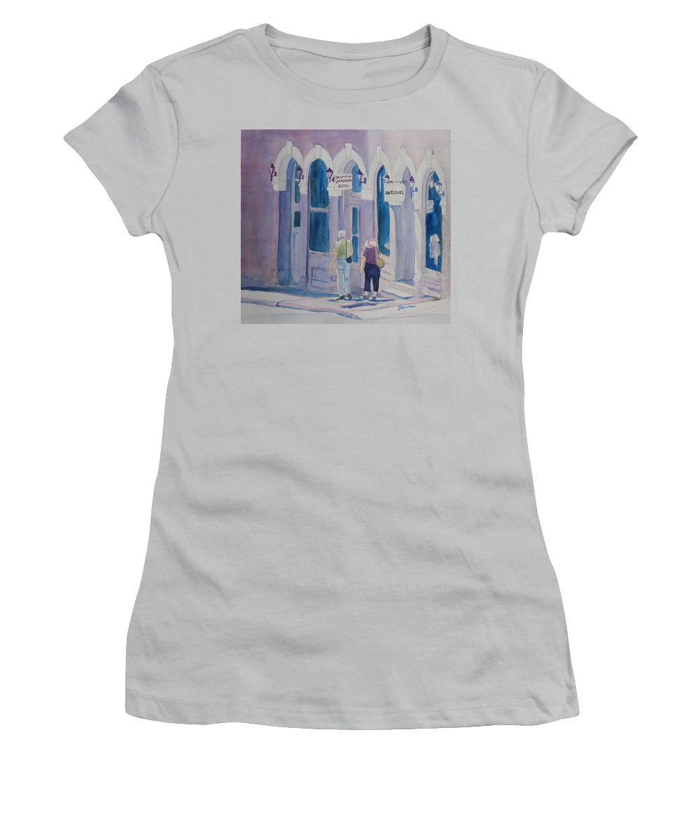 Central City Women's T-Shirt (Athletic Fit) featuring the painting Tourists In Central City by Jenny Armitage