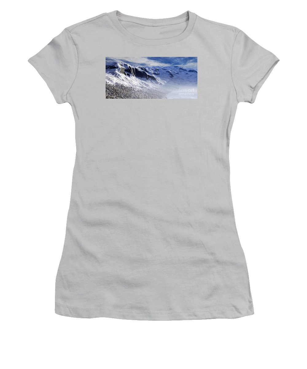 Mountains Women's T-Shirt (Athletic Fit) featuring the digital art Tranquility by Richard Rizzo