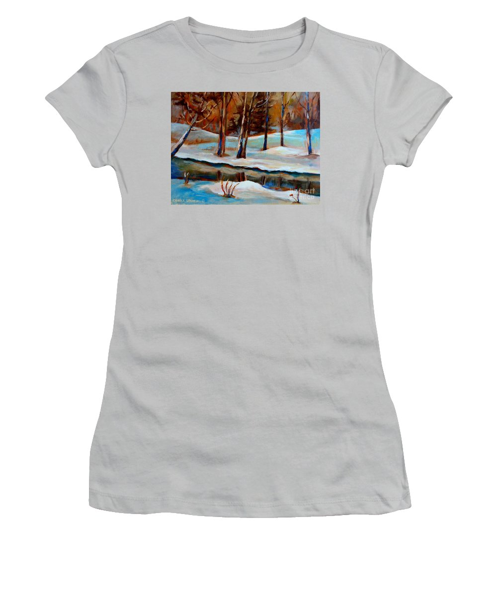 Trees At Rivers Edge Women's T-Shirt (Athletic Fit) featuring the painting Trees At The Rivers Edge by Carole Spandau