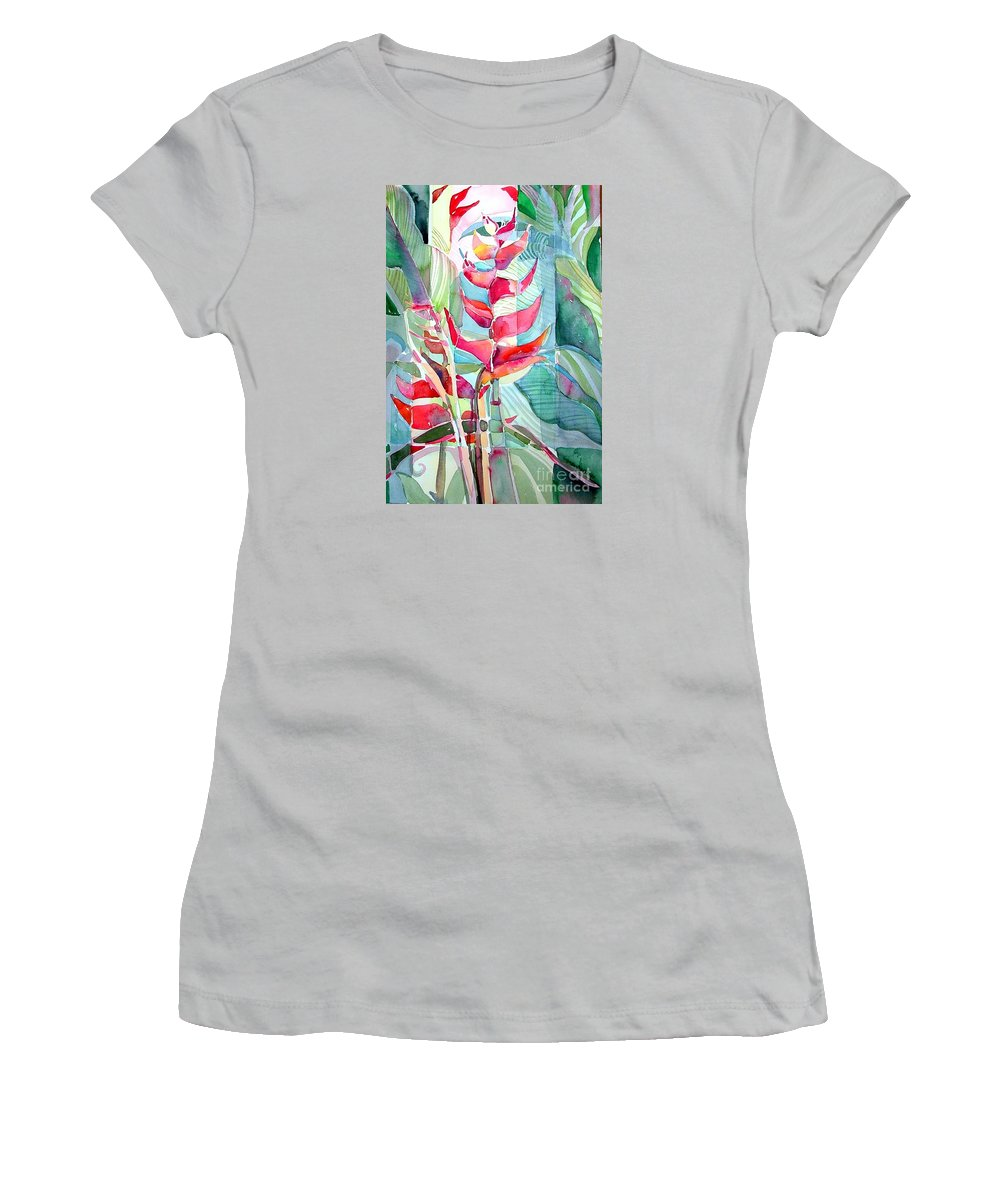 Landscape Women's T-Shirt (Athletic Fit) featuring the painting Tropicana Red by Mindy Newman