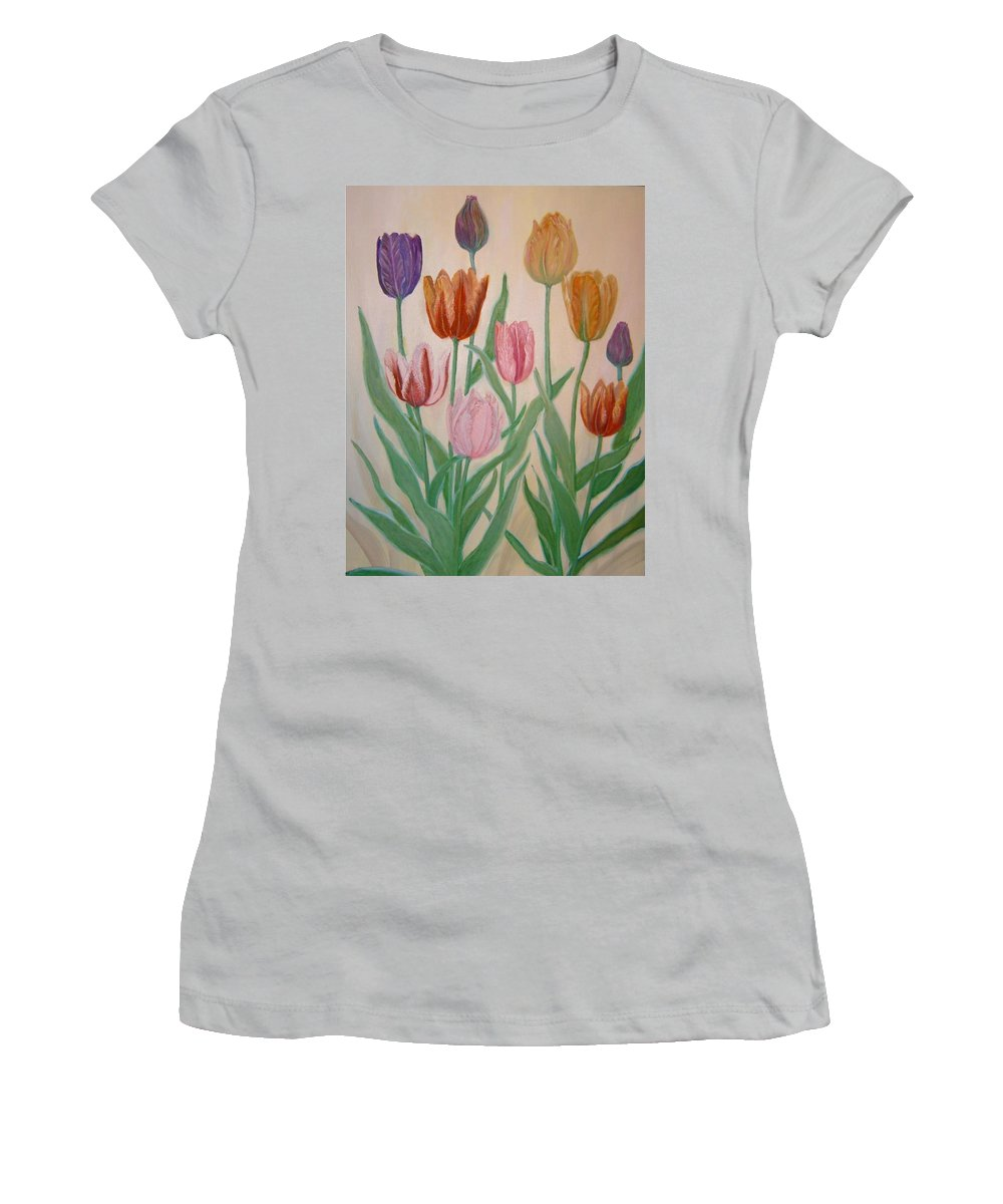 Flowers Of Spring Women's T-Shirt (Athletic Fit) featuring the painting Tulips by Ben Kiger