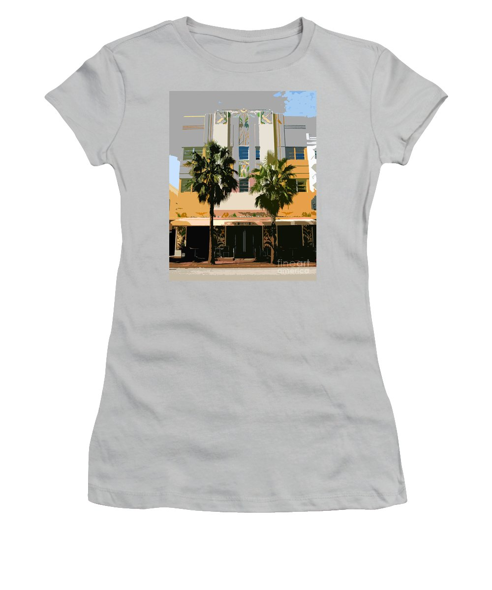 Miami Beach Florida Women's T-Shirt (Athletic Fit) featuring the photograph Two Palms Art Deco Building by David Lee Thompson