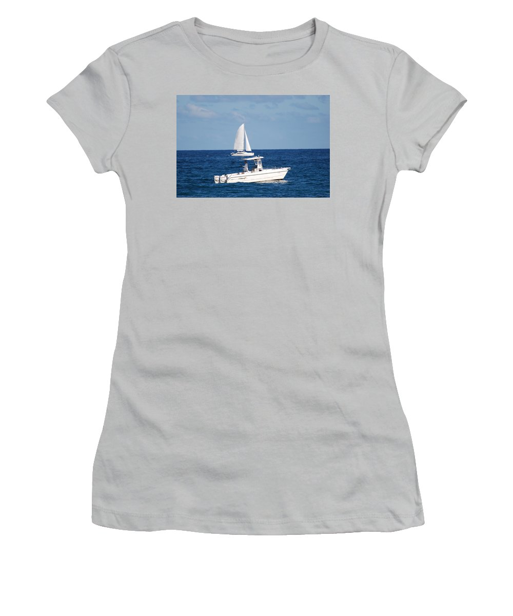 Sea Scape Women's T-Shirt (Athletic Fit) featuring the photograph Two Ships That Pass Thru The Day by Rob Hans