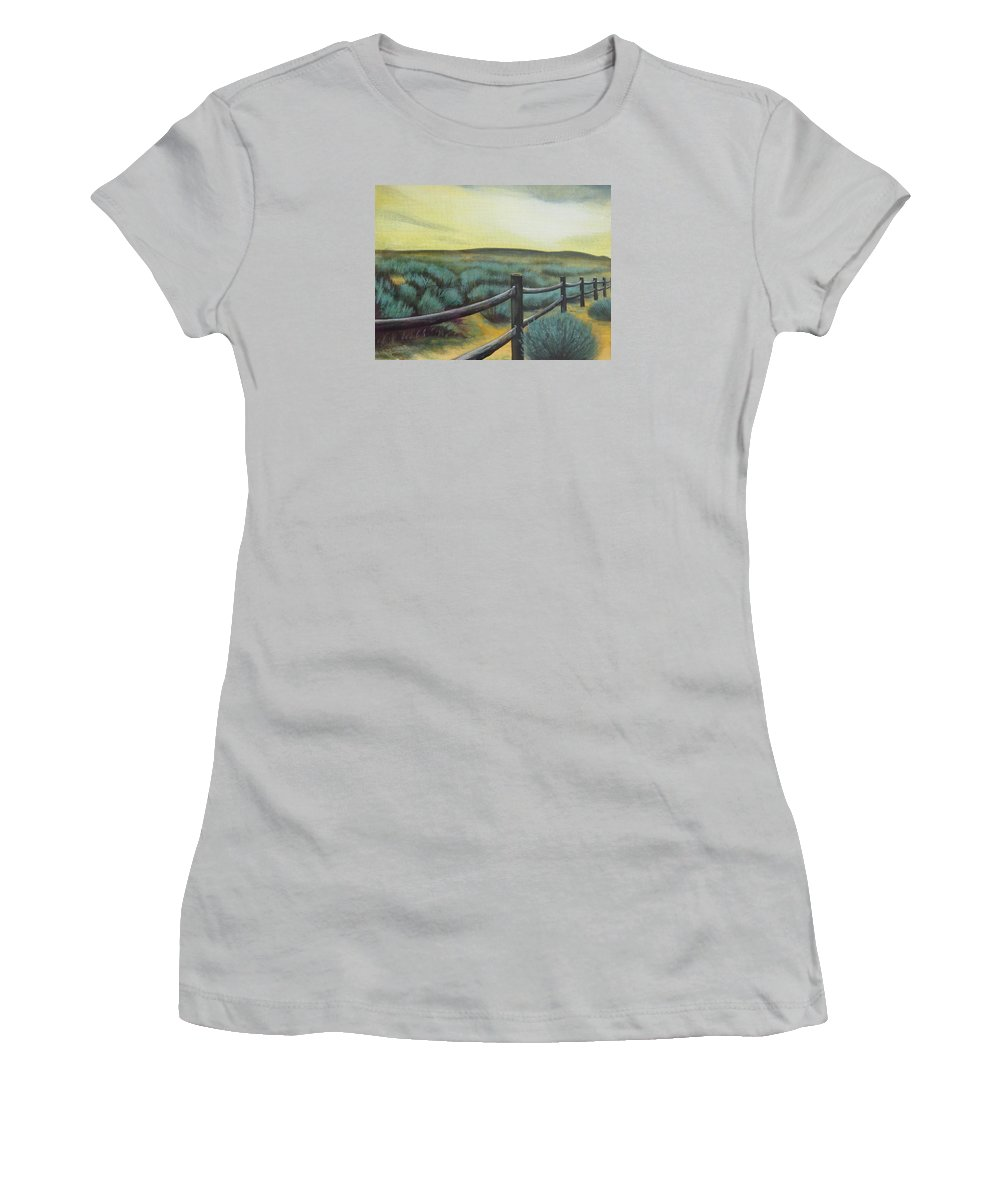 Utah Women's T-Shirt (Athletic Fit) featuring the painting Utah Sunset by Lucy Deane