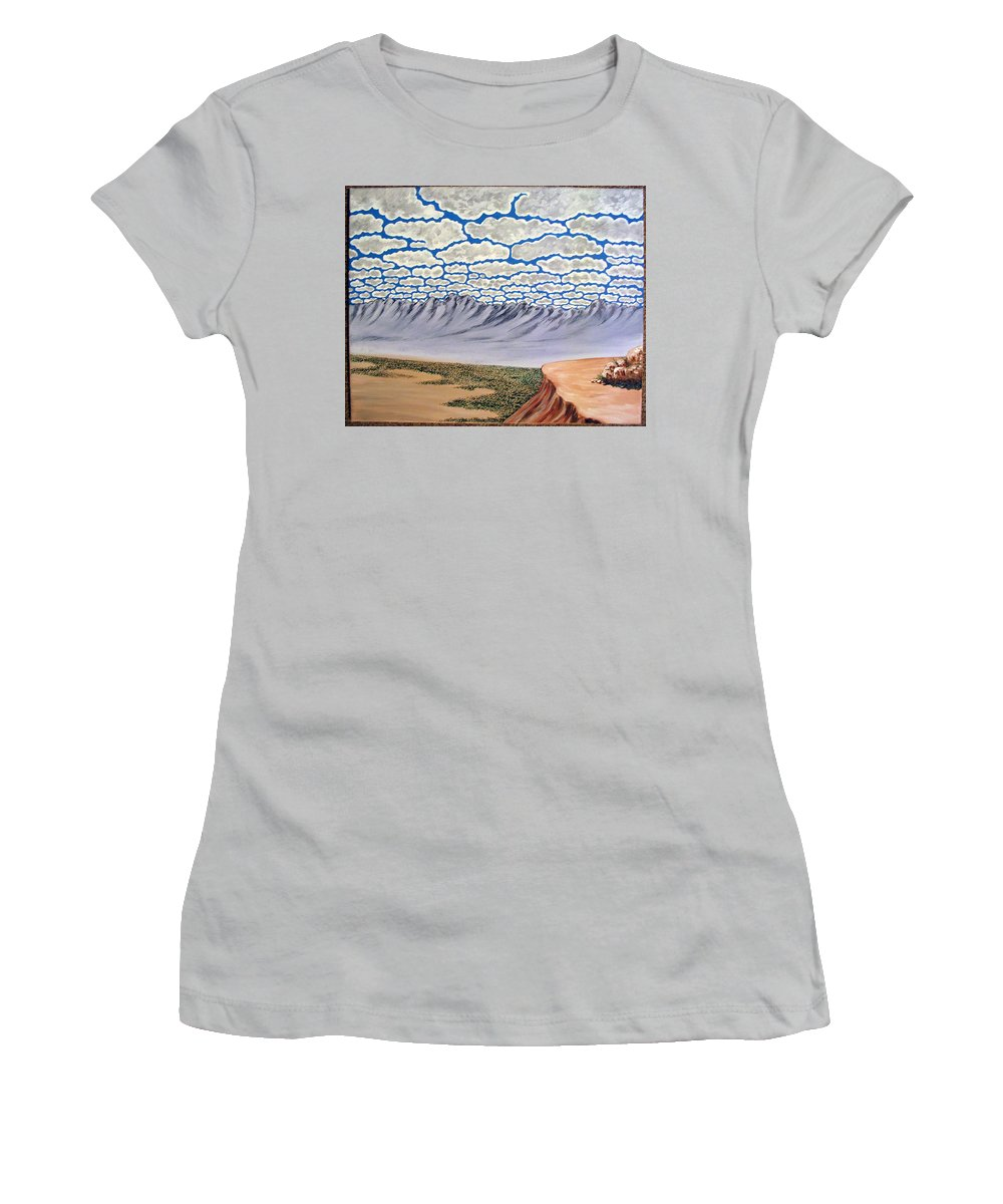 Desertscape Women's T-Shirt (Athletic Fit) featuring the painting View From The Mesa by Marco Morales