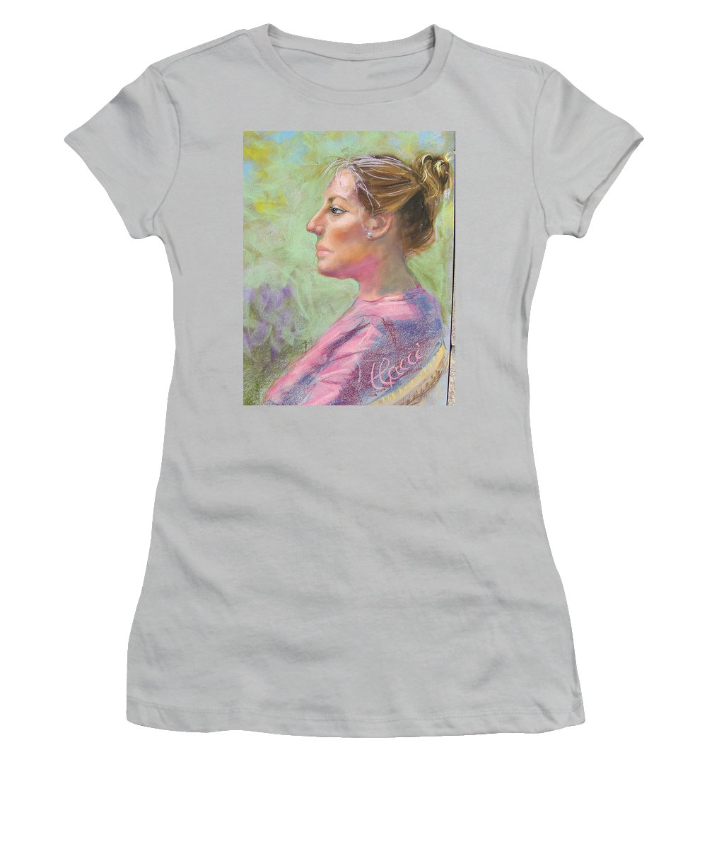 Portrait Women's T-Shirt (Athletic Fit) featuring the painting Virginia by Laurie Paci