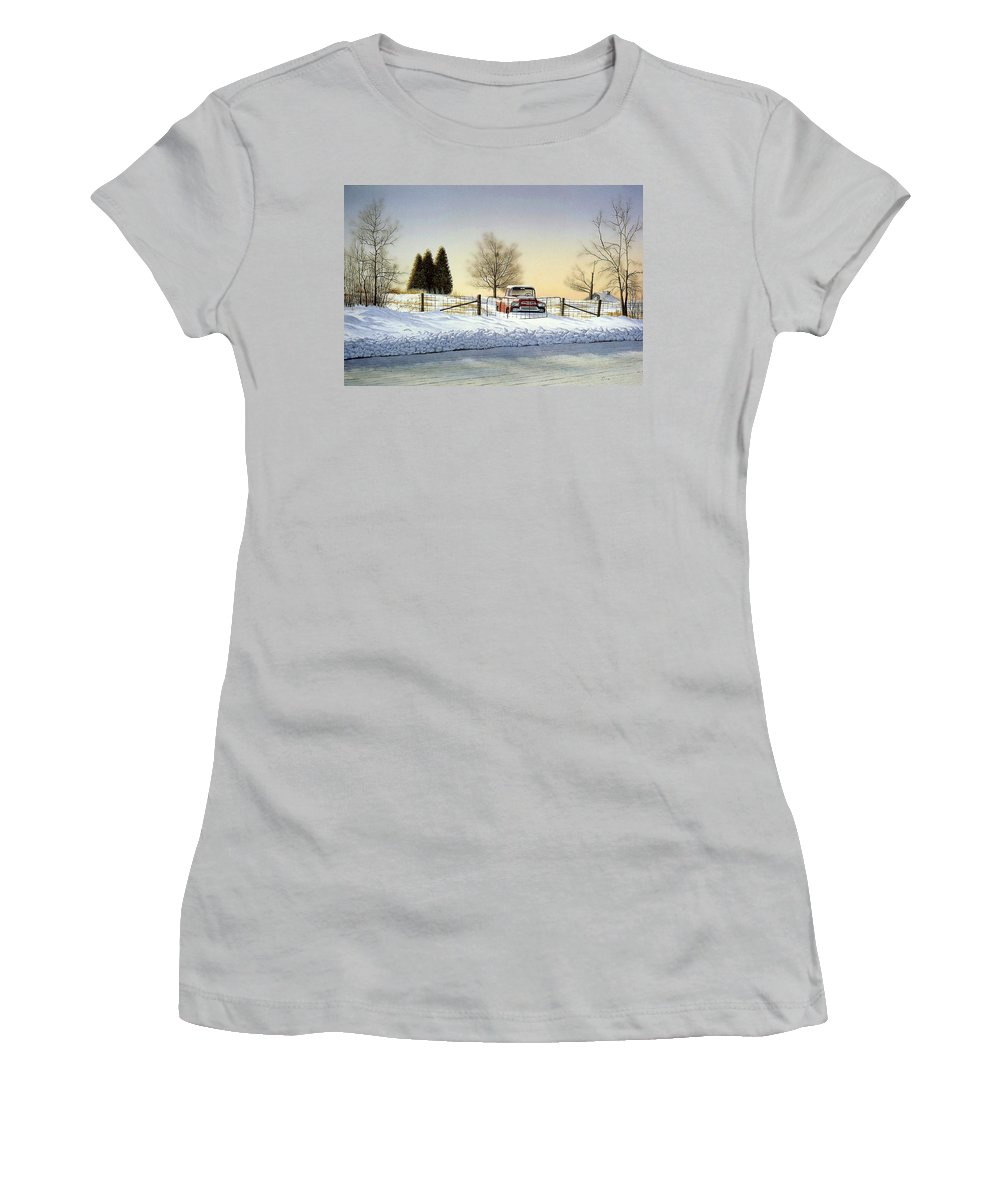 Landscape Women's T-Shirt (Athletic Fit) featuring the painting Waiting For Spring by Conrad Mieschke