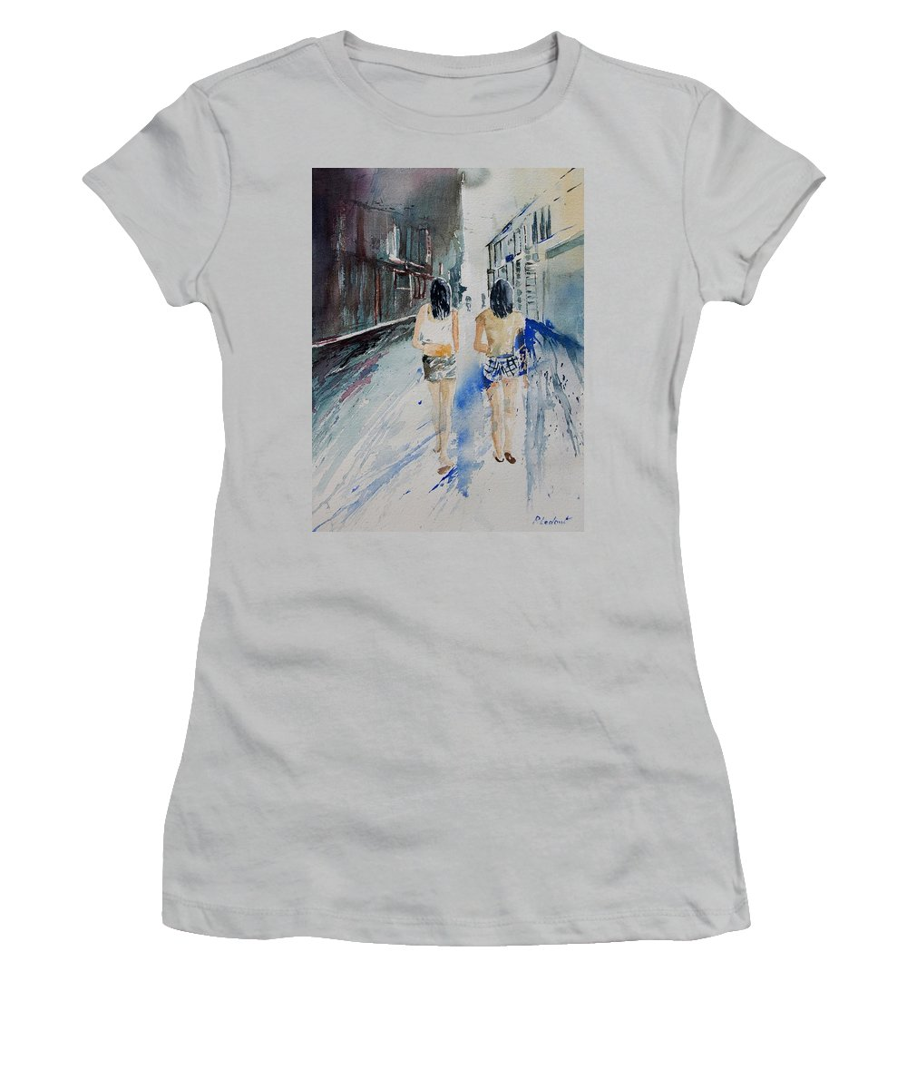 Girl Women's T-Shirt (Athletic Fit) featuring the painting Walking In The Street by Pol Ledent
