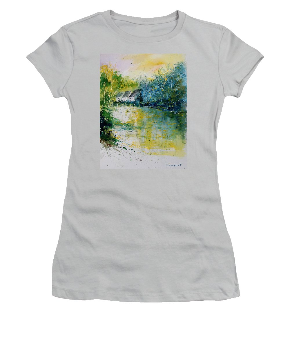 River Women's T-Shirt (Athletic Fit) featuring the painting Watercolor 011108 by Pol Ledent