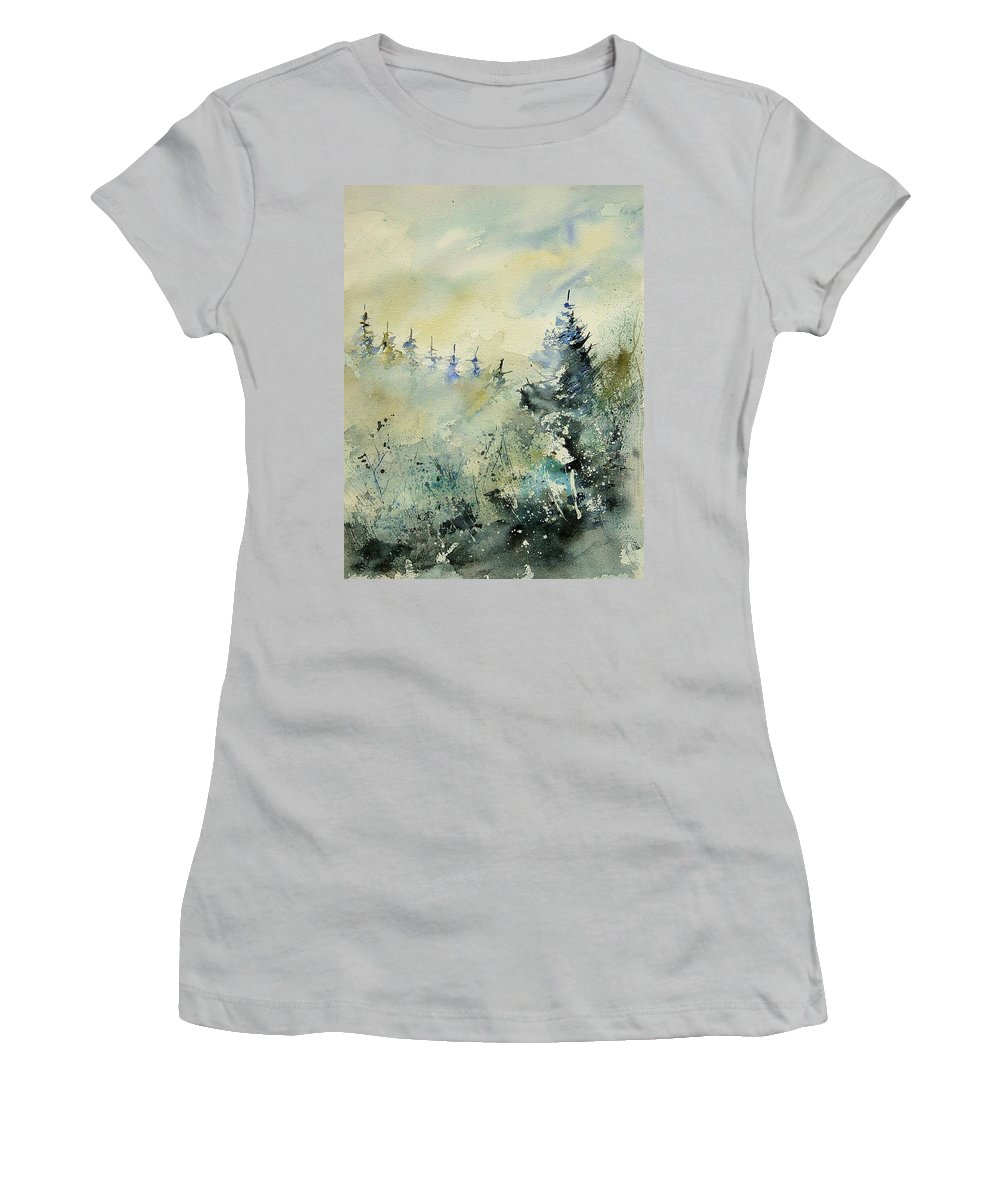 Winter Women's T-Shirt (Athletic Fit) featuring the painting Watercolor 020307 by Pol Ledent